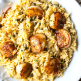 Pan Seared Scallops with Orzo Piccata long collage of one image with text overlay in the middle