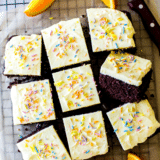 Chocolate Snack Cake with Orange Buttercream