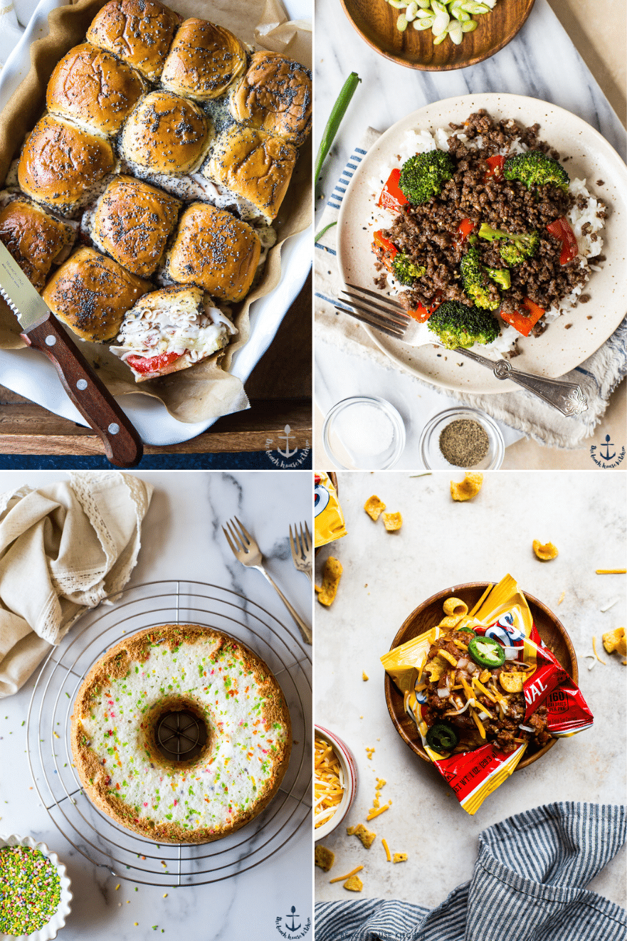 Collage of four recipes for spring