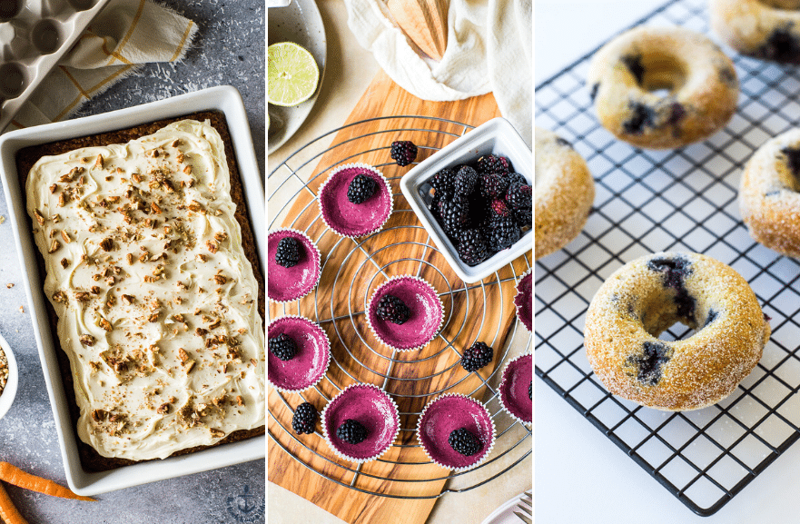 A triptich of a carrot cake, mini blackberry pies and blueberry donuts