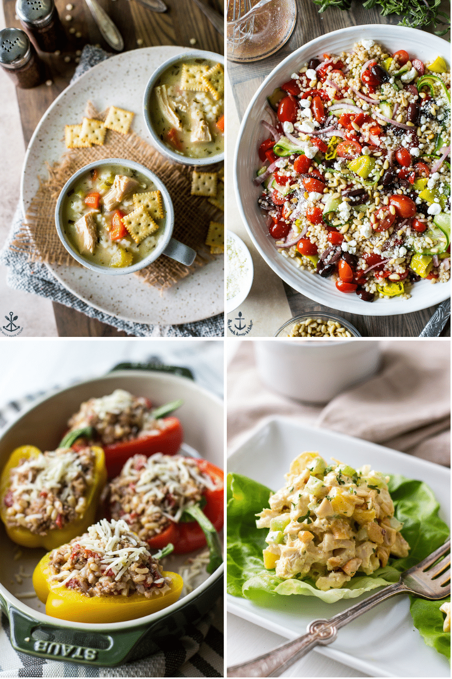 A collage of four spring recipes