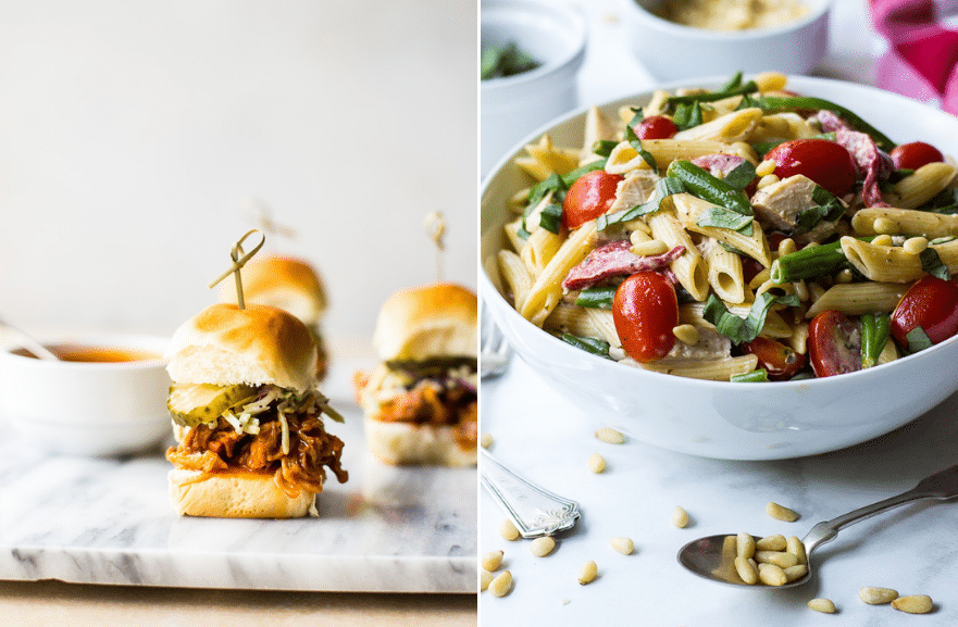 A diptich of a puled chiekn slider and a pasta salad