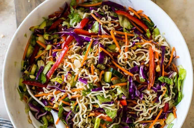Overhead photo of Ramen Noodle Salad with Honey Sesame Dressing