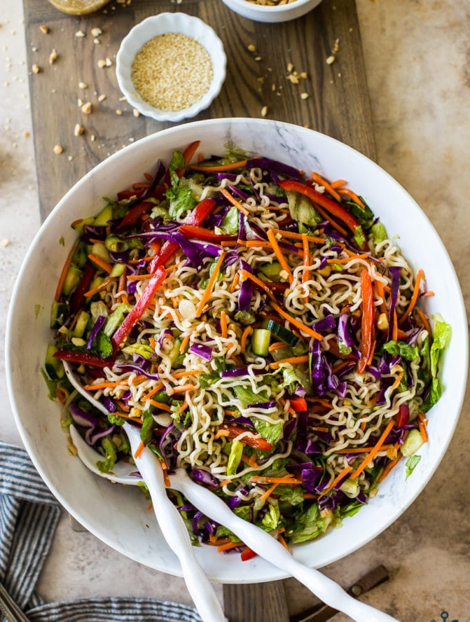 Overhead photo of Ramen Noodle Salad with Honey Sesame Dressing