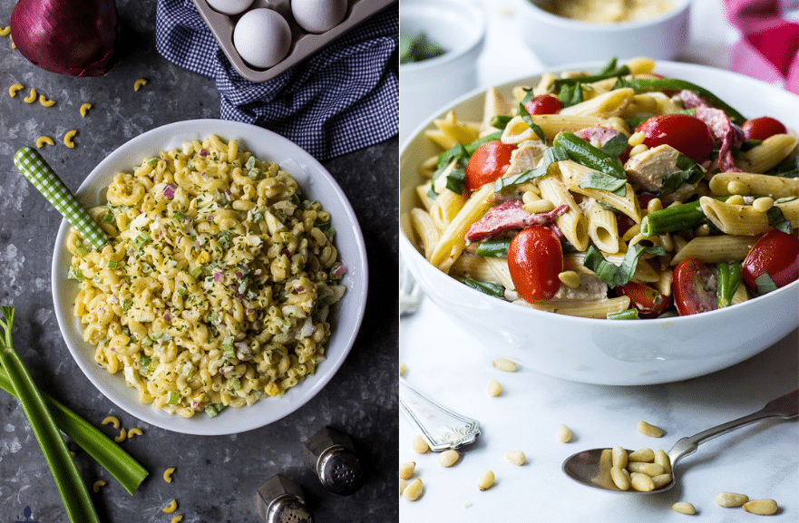 College of two pasta salads