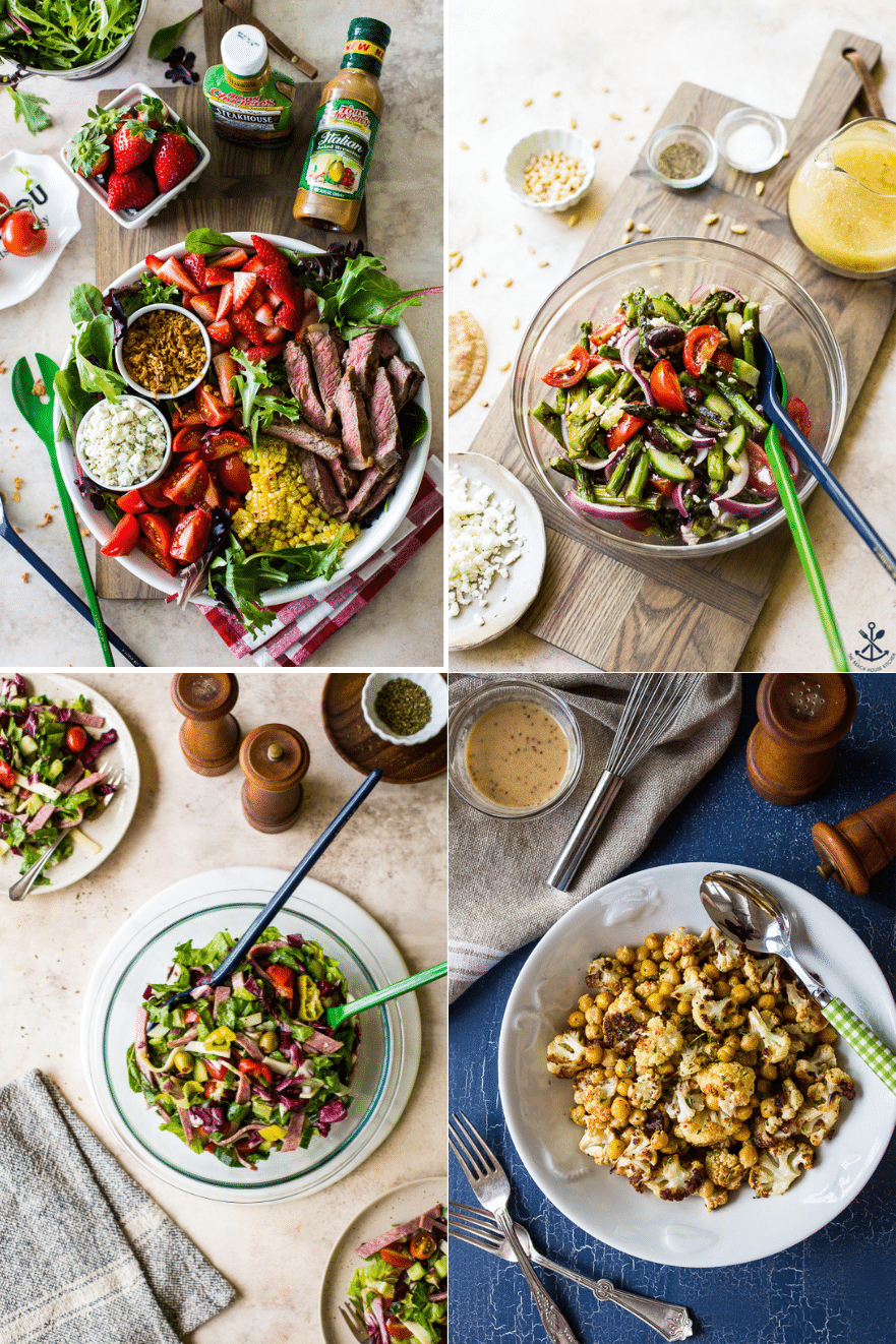 Collage of four different summer salads