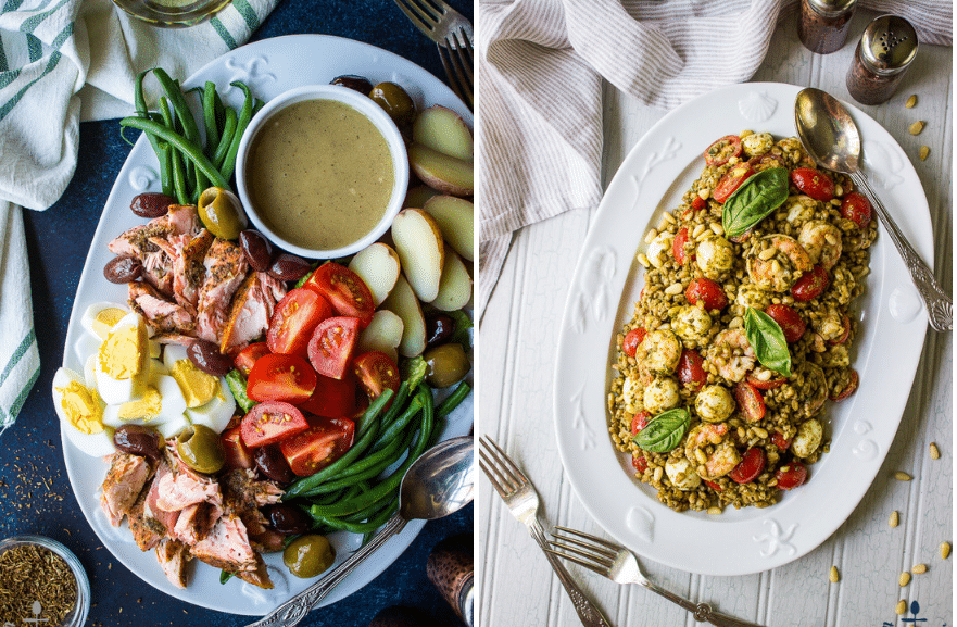 Collage of two photos of a nicoise salad and a shrimp farro salad