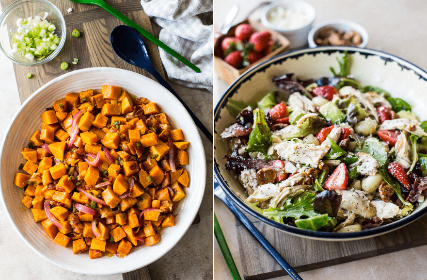 Collage of a sweet potato salad and a chicken strawberry salad