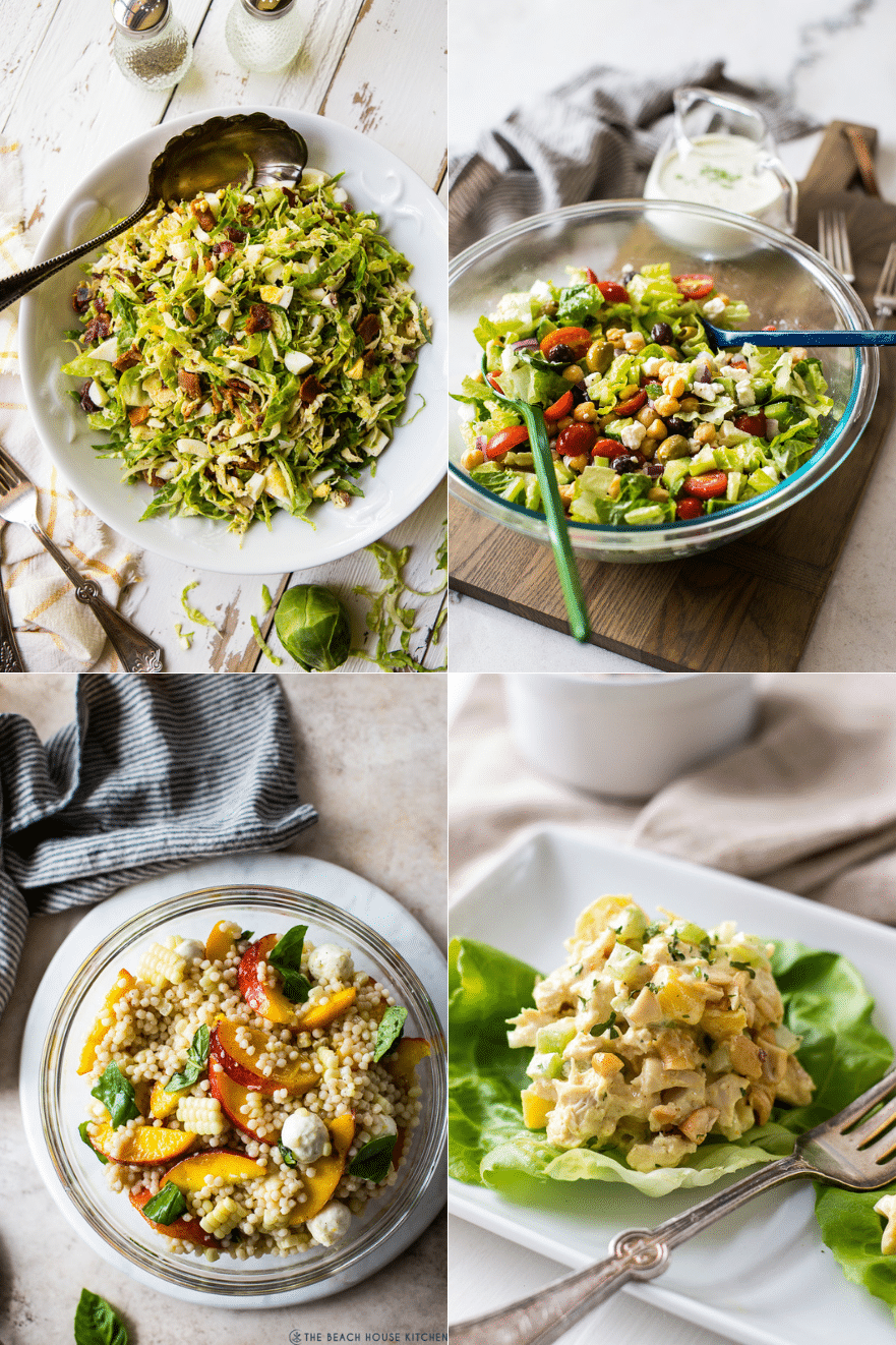 Collage of four delicious summer salads