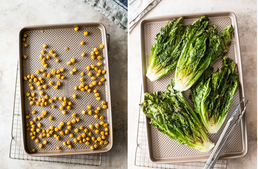Diptich of sheet pan of chick peas and sheet pan with grilled romaine heads