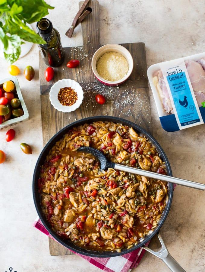 Overhead photo of one-pan balsamic chicken dish