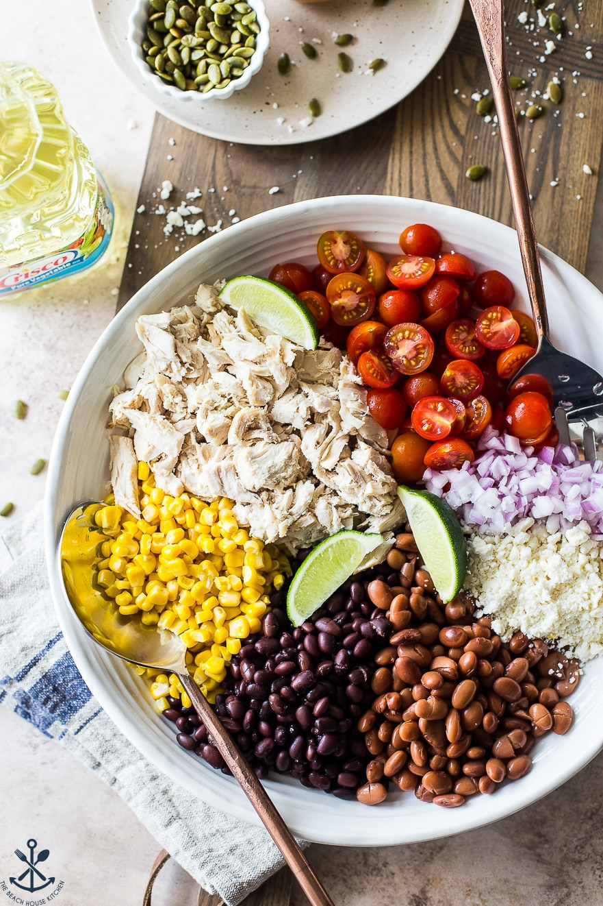 Overhead photo of a white bowl filled with shredded chicken, corn, black beans, pinto beans, tomatoes, onions and cheese