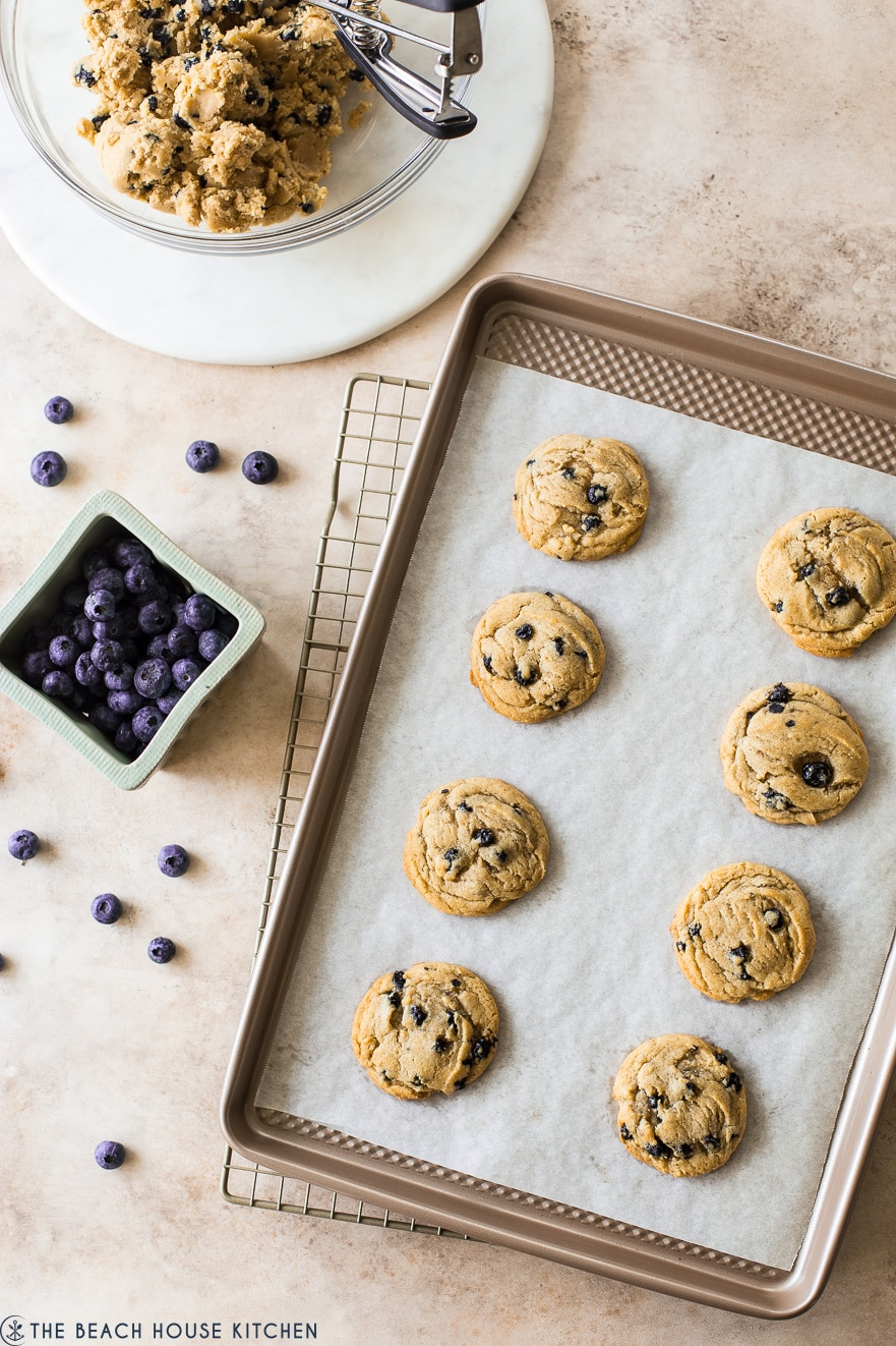 Overhead photo of baked cookies on a parchment lined sheet with a basket of blueberries off to the side