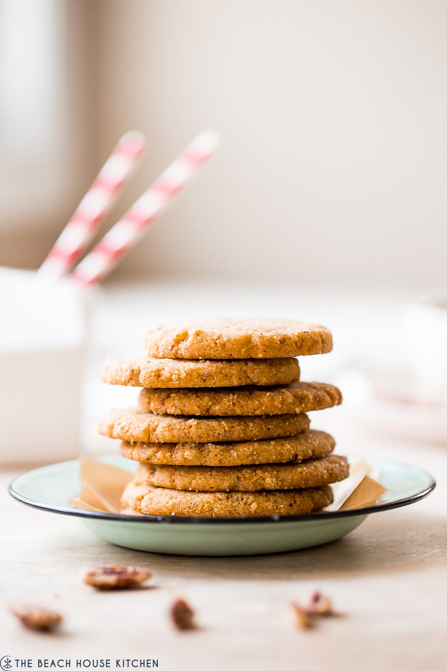 Up close photo of a stack of pecan sandies