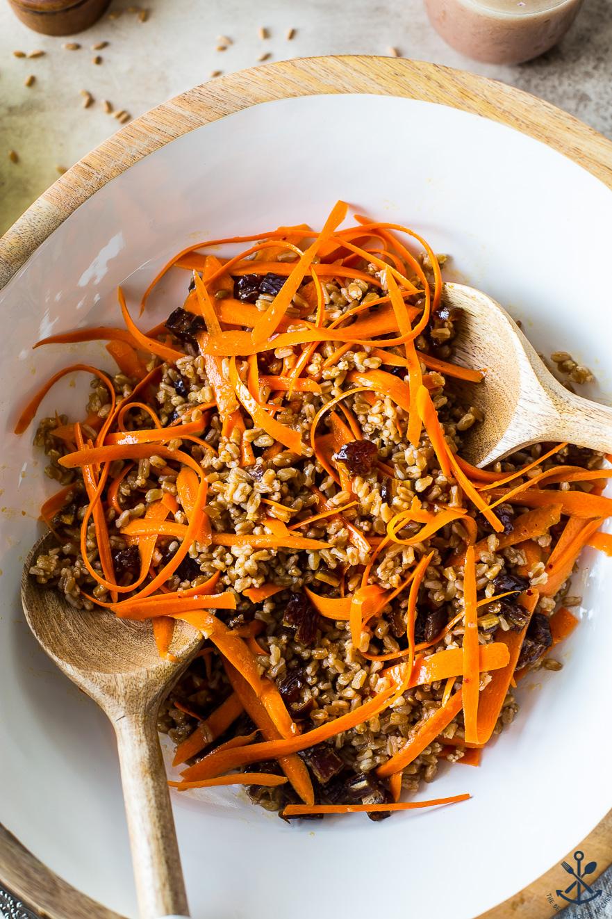 Up close overhead photo of a carrot farro salad
