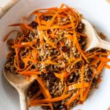 Carrot Farro Salad with Dates and Maple Vinaigrette long Pinterest pin