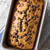 Overhead photo of a loaf of chocolate chip zucchini bread