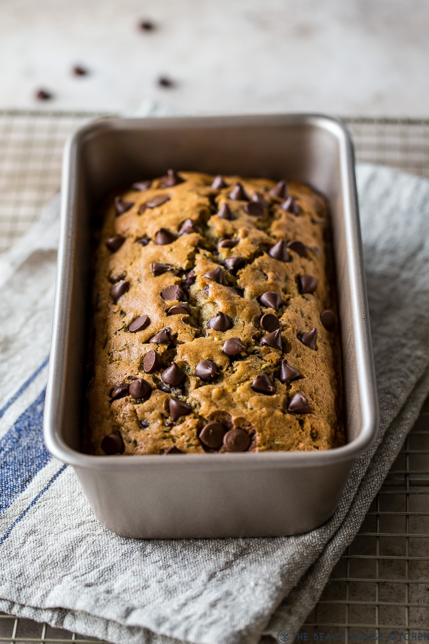 Up close photo of a loaf bread topped with chocolate chips