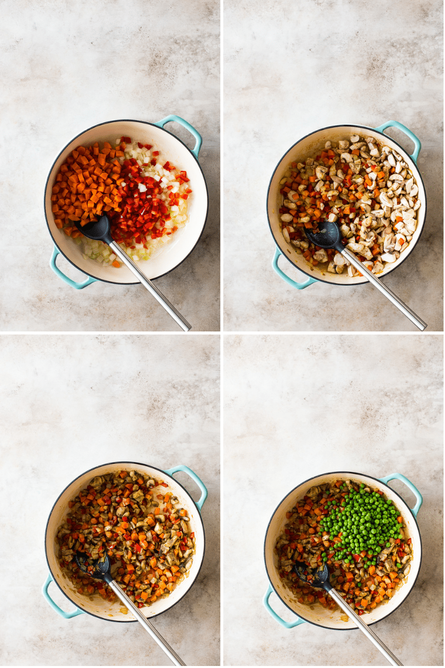 A collage of four photos of ingredients in a skillet for pot pies