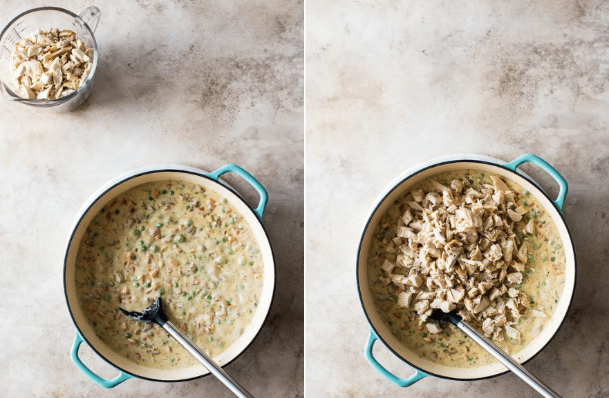 A collage of two overhead photos of creamy chicken mixture for pot pies