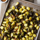 Sheet Pan Gnocchi with Brussels Sprouts and Pancetta long Pinterest pin