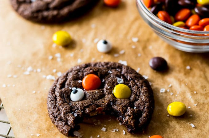 A chocolate cookie studded with Reese's pieces